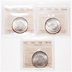 1941. ICCS Mint State-64. Lot of three (3) brilliant select uncirculated….