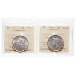 Lot of two (2) ICCS graded Fifty Cents of King George VI.