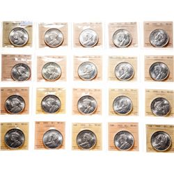 1935. ICCS Mint State-65. Twenty (20) Gem silver dollars, all hand-picked….