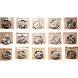 1935. ICCS Mint State-65. Lot of fifteen (15) Gems. All of the silver do….