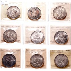 1935. ICCS Mint State-65. Lot of nine (9) Gems, each with light to medium….