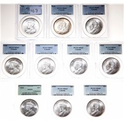 1935. PCGS graded Mint State-65. Gem Brilliant Uncirculated. Lot of ten….