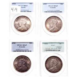 1935. PCGS graded Mint State-65. Lot of four (4) Gem dollars, all with ou….