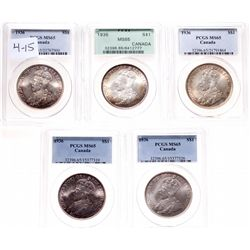 1936. PCGS graded Mint State-65. Lot of five (5) superb hand selected Gem….