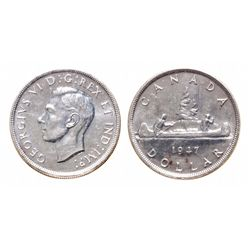 1947. Blunt 7. ICCS Mint State-64. A lustrous and brilliant silver dollar….