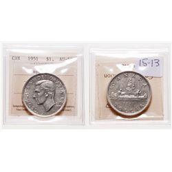 1951. Arnprior. ICCS AU-58. A near mint state dollar.