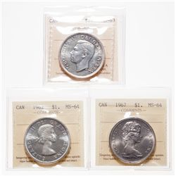 Lot of three (3) ICCS graded Silver Dollars.