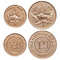 MANITOBA GOLD. 1898. 1d. & 1/2d. Buffalo/Maple Leaf. Both MS-63 or bett….