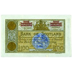 Scotland. Bank of Scotland £100. 1959-62. Pick# 95e. PMG VF-35 Net.
