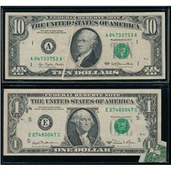 UNITED STATES. Lot of two (2) error banknotes.