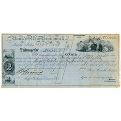 BANK OF NEW BRUNSWICK. Second of Exchange. Feb. 8, 1889. Eighty-one Pound….