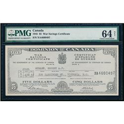 Canada War Savings Certificate. $5.00. 1945. PMG CUNC-64 Net.