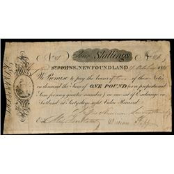 SHANNON, LIVINGSTON & CO. St. John's, NL. Ten Shillings. 1 October, 1815.….