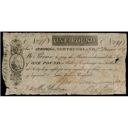 SHANNON, LIVINGSTON & CO., St. John's, NL. One Pound. Nov. 12, 1814. NL8….