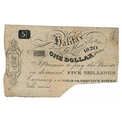 JOHN ALBRO & CO. (HARDWARE MERCHANT). Halifax, N.S. One Dollar, (5 Shillin….
