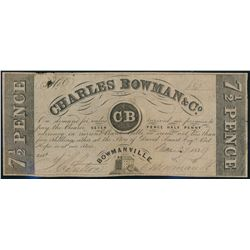 CHARLES BOWMAN & CO. Bowmanville, Upper Canada. 7 1/2 Pence. Mar. 27, 183….