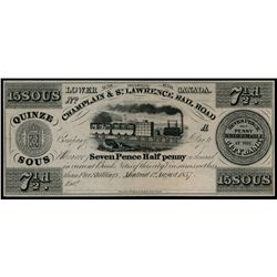 CHAMPLAIN & ST. LAWRENCE RAIL ROAD. 1 August, 1837. QC80-12-10R. An uncu….