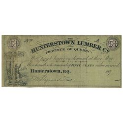 HUNTERTOWN LUMBER CO. Hunterstown, QC. Fifty Cents. 187- (A Remainder).….