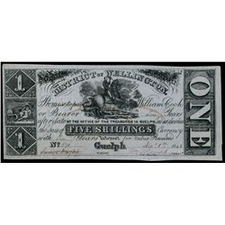 DISTRICT OF WELLINGTON. 5 Shillings ($1.00). Dec. 1, 1848. MU-6. No. 571.….