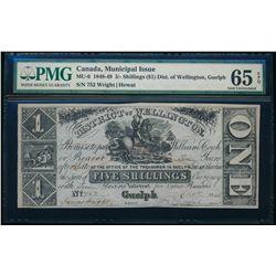 District of Wellington, Guelph. 5 Shillings ($1). 1848. MU-6. PMG GUNC-65 EPQ.