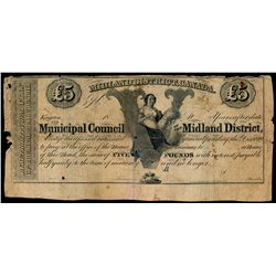 MUNICIPAL COUNCIL OF THE MIDLAND DISTRICT. Five Pounds. MU-12R. 18--. A R….