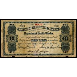 NEWFOUNDLAND GOVERNMENT CASH NOTE. 40 Cents. 1904. NF-2d. No. 2669. Ve….
