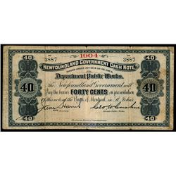 NEWFOUNDLAND GOVERNMENT CASH NOTE. 40 Cents. 1904. NF-2d. No. 3887. Ab….