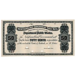 NEWFOUNDLAND GOVERNMENT CASH NOTE. 50 Cents. NF-3P. A Black and White Fa….
