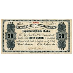 NEWFOUNDLAND GOVERNMENT CASH NOTE. 50 Cents. NF-3a. 1901. No. 41057. F….