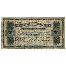 NEWFOUNDLAND GOVERNMENT CASH NOTE. 50 Cents. NF-3e. 1905. No. 2639. Go….