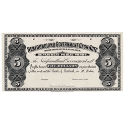 NEWFOUNDLAND GOVERNMENT CASH NOTE. $5.00. NF-6P. A Black and White Face….