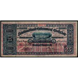 NEWFOUNDLAND GOVERNMENT CASH NOTE. 25 Cents. 1910-11. NF-7a. No. 00093.….