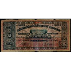 NEWFOUNDLAND GOVERNMENT CASH NOTE. 25 Cents. 1910-11. NF-7a. No. 00915.….