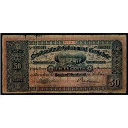 NEWFOUNDLAND GOVERNMENT CASH NOTE. 50 Cents. 1910-11. NF-8a. No. 06241,….