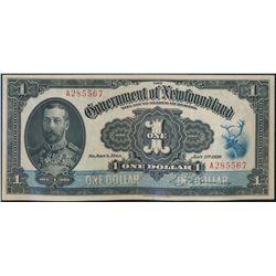 GOVERNMENT OF NEWFOUNDLAND. $1.00. Jan. 2, 1920. NF-12b. No. A285567.….