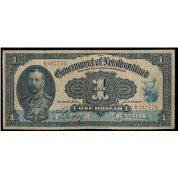 GOVERNMENT OF NEWFOUNDLAND. $1.00. Jan. 2, 1920. NF-12b. No. A402778.….