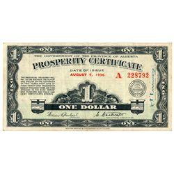 ALBERTA PROSPERITY CERTIFICATE. $1.00. August 5, 1936. CH-A1. No. A2887….
