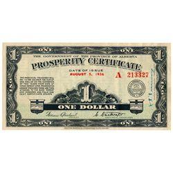 ALBERTA PROSPERITY CERTIFICATE. $1.00. August 5, 1936. CH-A1. No. A2133….