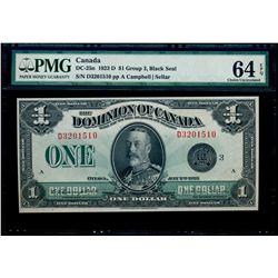 $1.00. 1923. DC-25n. PMG CUNC-64 EPQ.