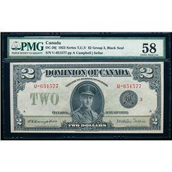 $2.00. 1923. DC-26j. PMG AU-58.