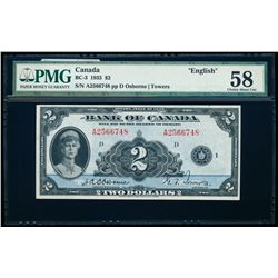 $2.00. 1935. BC-3. PMG AU-58.