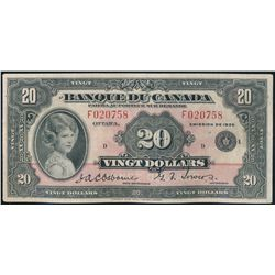 $20.00. 1935 Issue. BC-10. French Text. No. F020758/D. Fine+.