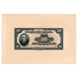 $500.00. 1935 Issue. BC-18FP & BC-18BP. French Text. Full colour Face a….