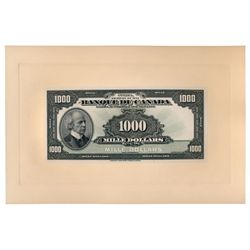 $1000.00. 1935 Issue. BC-20FP & BC-20BP. Full colour Face and Back Proof….