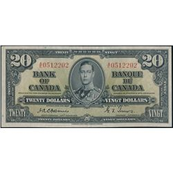 $20.00. 1937 Issue. BC-25a. No. A/E0512022. Osborne-Towers. Extra Fine….