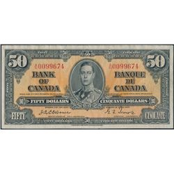 $50.00. 1937 Issue. BC-26a. No. A/H0099674. Osborne-Towers. Fine.