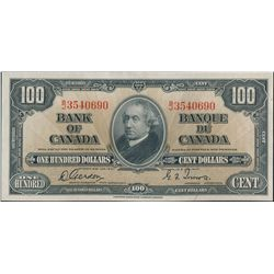$100.00. 1937 Issue. BC-27a. No. B/J3540690. Gordon-Towers. Unc.