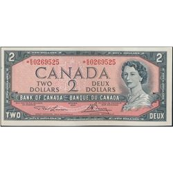 $2.00. 1954 Issue. BC-38dA. No. *K/G0269525. Lawson-Bouey. Unc.