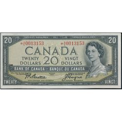 $20.00. 1954 Issue. BC-41aA. No. *A/E0013153. Beattie-Coyne. Modified.….
