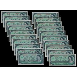 1967 $1.00 Lot. A complete Uncirculated set of every variety of 1967 $1 Notes, including replacement
